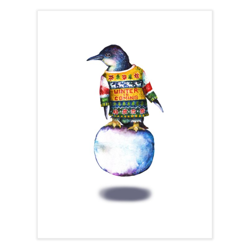 Penguin says Winter is Coming... Home Fine Art Print by dotsofpaint threads