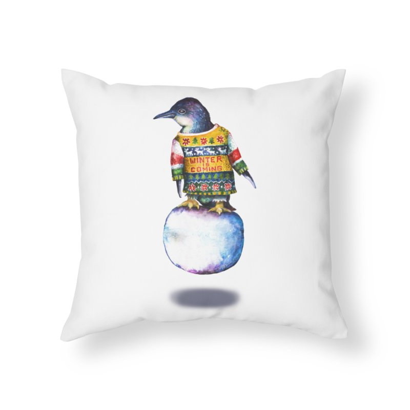 Penguin says Winter is Coming... Home Throw Pillow by dotsofpaint threads