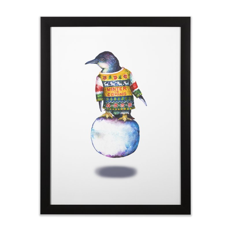 Penguin says Winter is Coming... Home Framed Fine Art Print by dotsofpaint threads