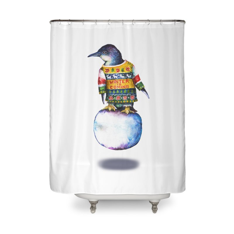 Penguin says Winter is Coming... Home Shower Curtain by dotsofpaint threads