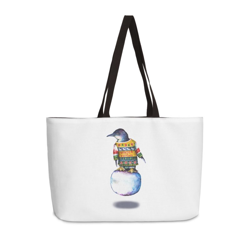 Penguin says Winter is Coming... Accessories Weekender Bag Bag by dotsofpaint threads