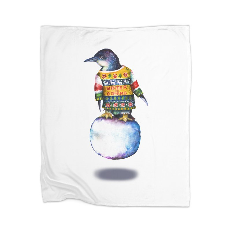 Penguin says Winter is Coming... Home Blanket by dotsofpaint threads