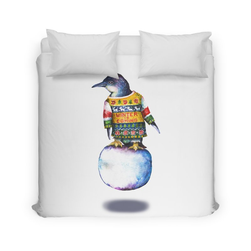 Penguin says Winter is Coming... Home Duvet by dotsofpaint threads