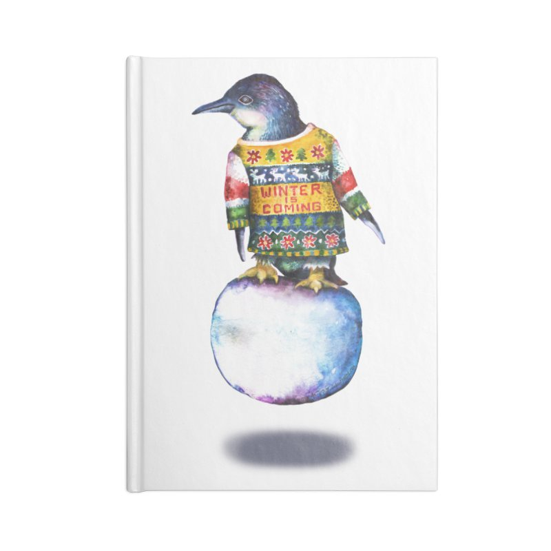 Penguin says Winter is Coming... Accessories Lined Journal Notebook by dotsofpaint threads
