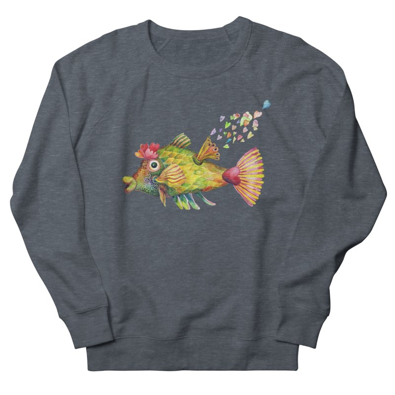 Bleeding Heart Fish Men's French Terry Sweatshirt by dotsofpaint threads