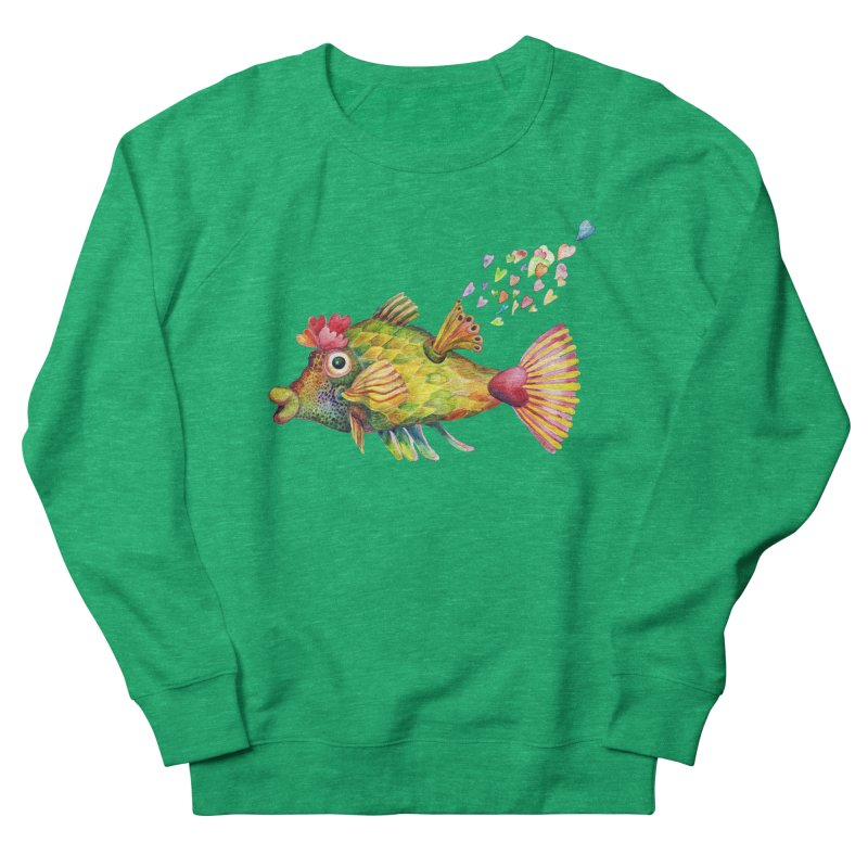 Bleeding Heart Fish Men's French Terry Sweatshirt by dotsofpaint threads