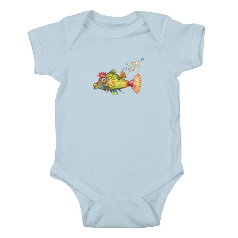 Bleeding Heart Fish Kids Baby Bodysuit by dotsofpaint threads
