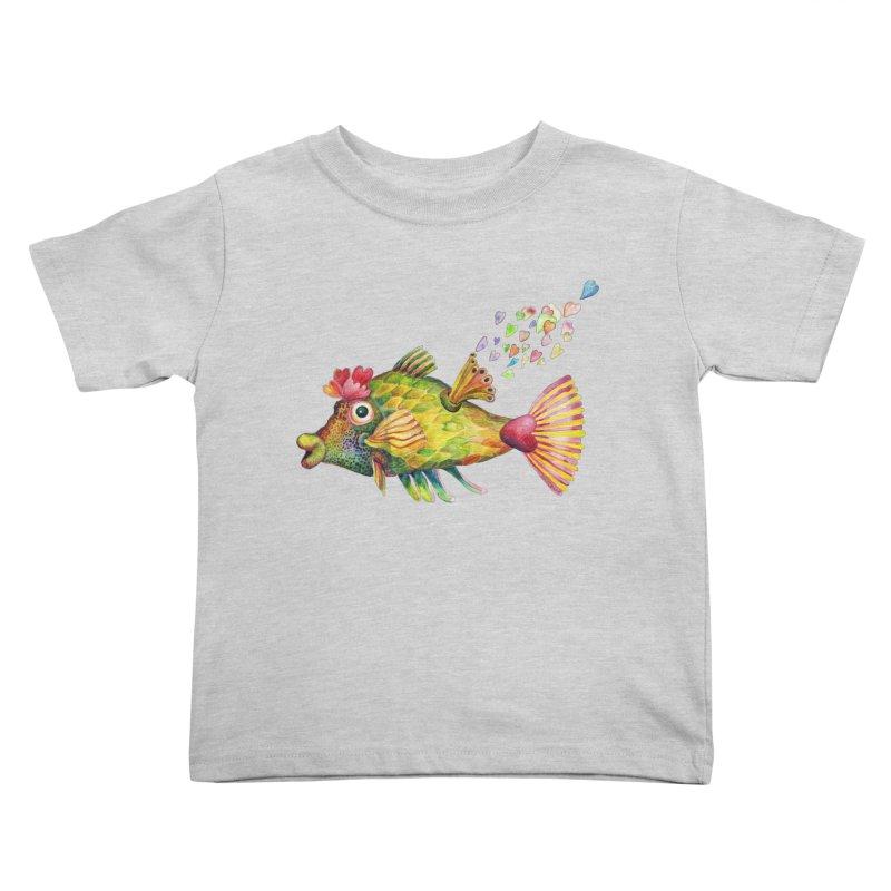 Bleeding Heart Fish Kids Toddler T-Shirt by dotsofpaint threads
