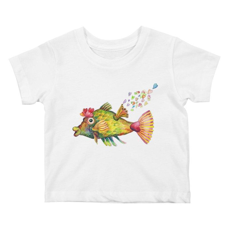 Bleeding Heart Fish Kids Baby T-Shirt by dotsofpaint threads