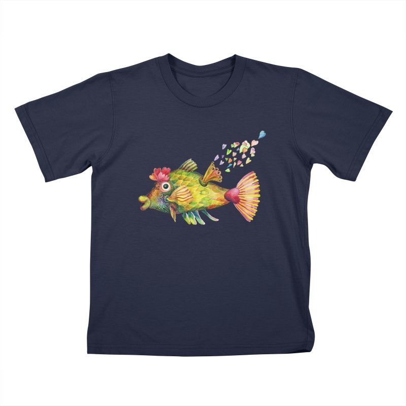 Bleeding Heart Fish Kids T-Shirt by dotsofpaint threads