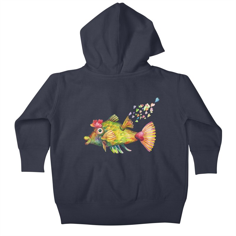 Bleeding Heart Fish Kids Baby Zip-Up Hoody by dotsofpaint threads