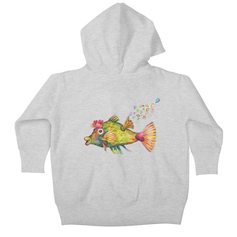 Bleeding Heart Fish Kids Baby Zip-Up Hoody by dotsofpaint threads