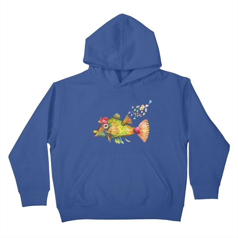 Bleeding Heart Fish Kids Pullover Hoody by dotsofpaint threads