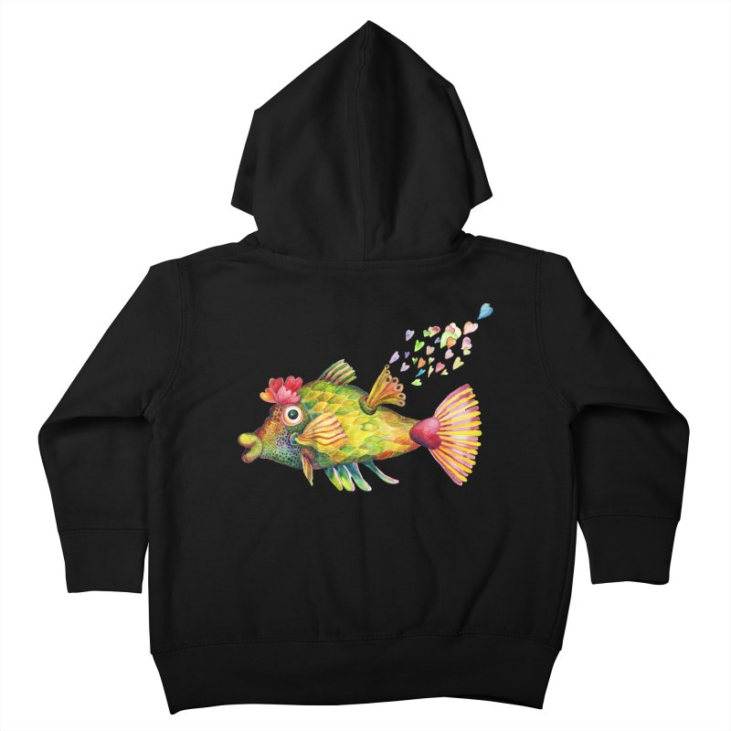 Bleeding Heart Fish Kids Toddler Zip-Up Hoody by dotsofpaint threads