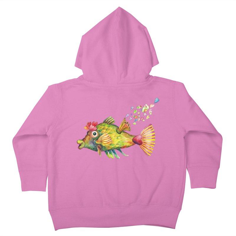Bleeding Heart Fish Kids Toddler Zip-Up Hoody by dotsofpaint threads