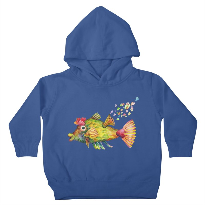 Bleeding Heart Fish Kids Toddler Pullover Hoody by dotsofpaint threads