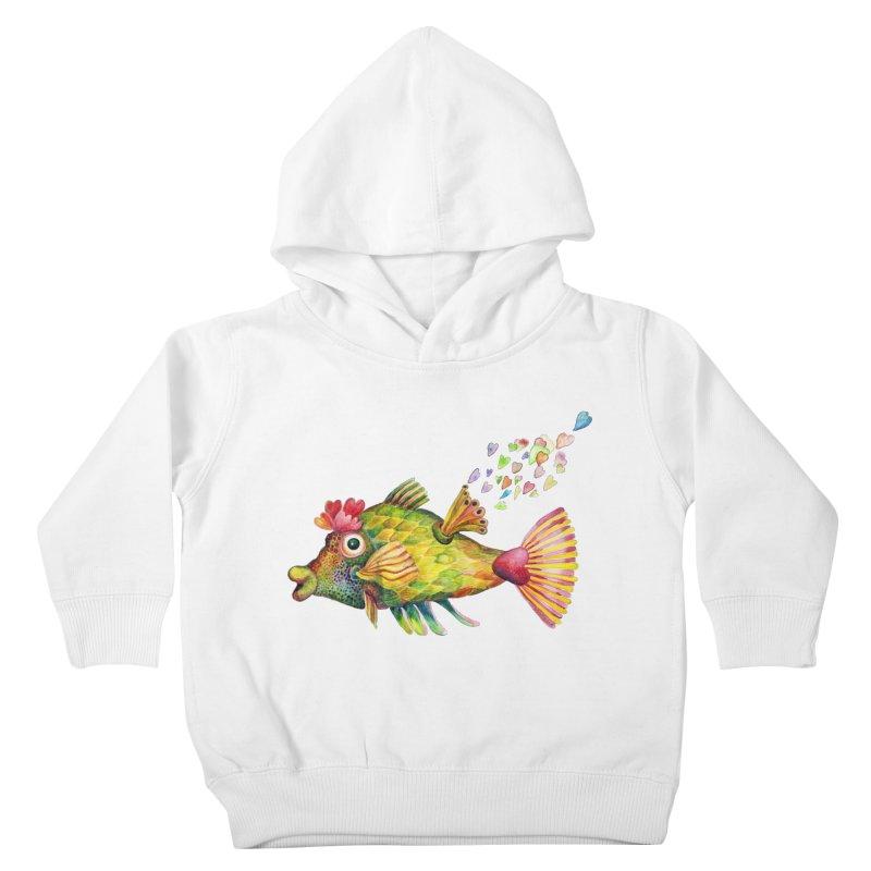 Bleeding Heart Fish Kids Toddler Pullover Hoody by dotsofpaint threads