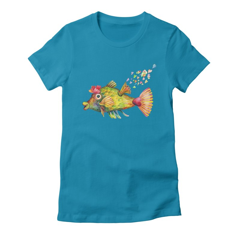Bleeding Heart Fish Women's Fitted T-Shirt by dotsofpaint threads