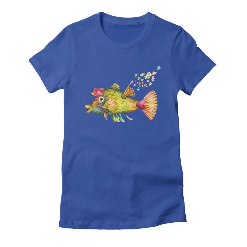 Bleeding Heart Fish Women's Fitted T-Shirt by dotsofpaint threads