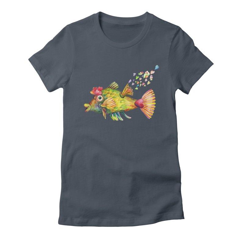 Bleeding Heart Fish Women's T-Shirt by dotsofpaint threads