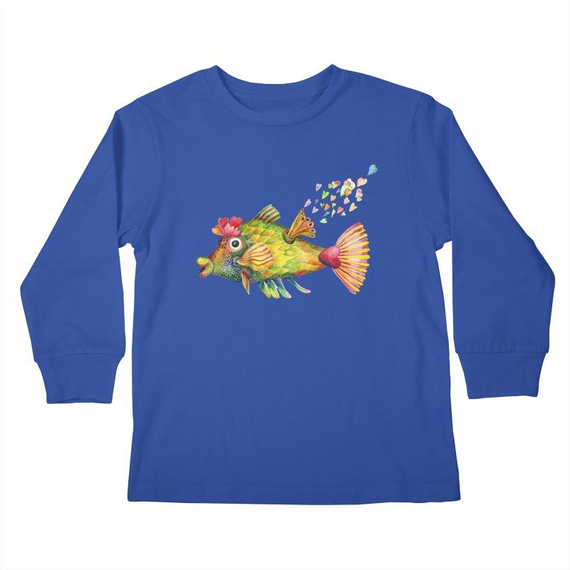 Bleeding Heart Fish Kids Longsleeve T-Shirt by dotsofpaint threads