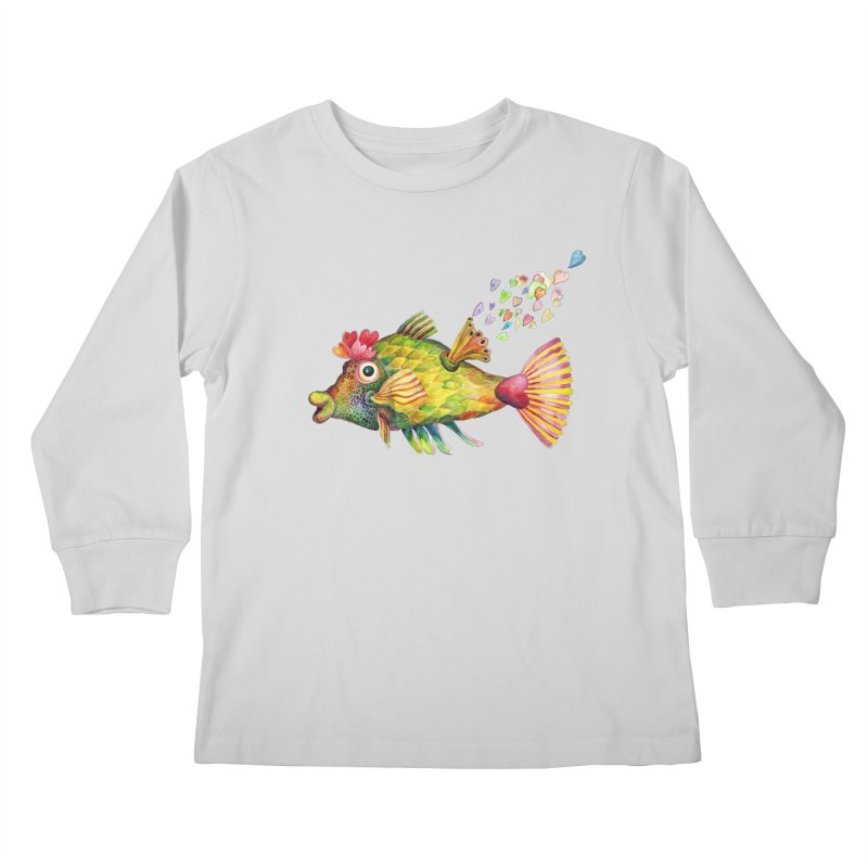 Bleeding Heart Fish Kids Longsleeve T-Shirt by dotsofpaint threads