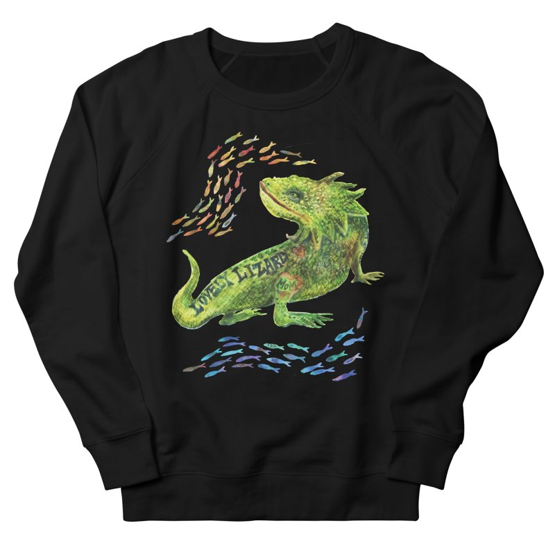 Lovely Lizard Inked and Contorted Women's French Terry Sweatshirt by dotsofpaint threads