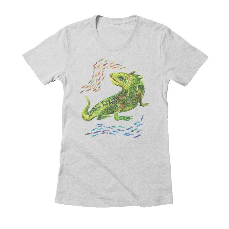 Lovely Lizard Inked and Contorted Women's Fitted T-Shirt by dotsofpaint threads