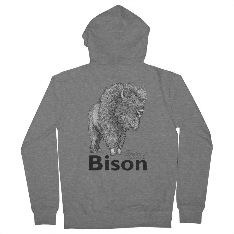 Bison Men's Zip-Up Hoody by dotsofpaint threads