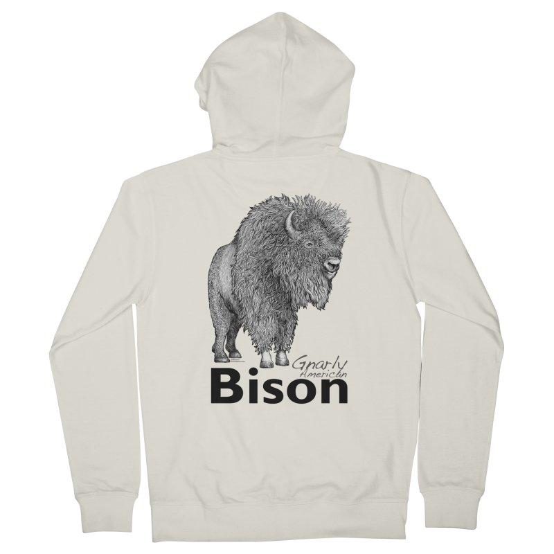 Bison Men's French Terry Zip-Up Hoody by dotsofpaint threads