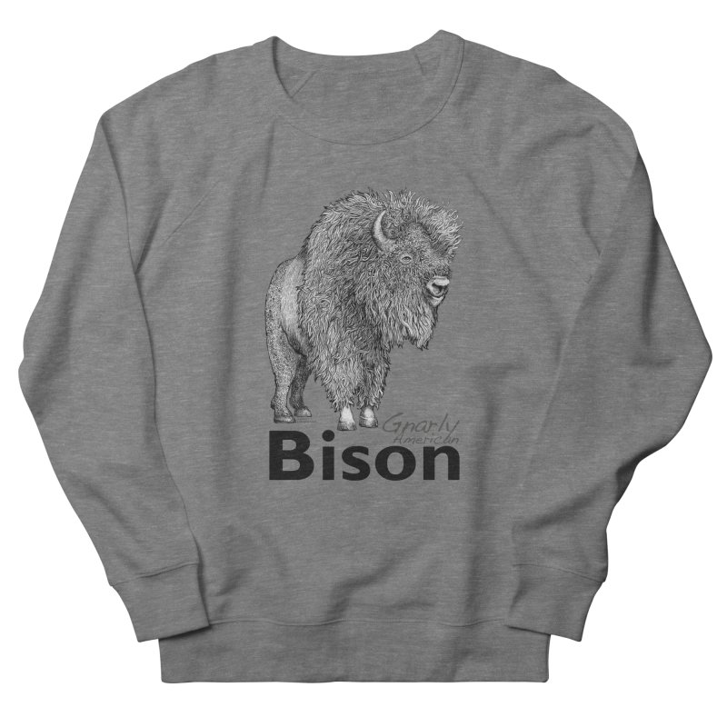 Bison Women's French Terry Sweatshirt by dotsofpaint threads