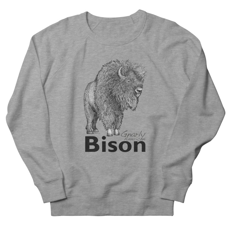 Bison Men's French Terry Sweatshirt by dotsofpaint threads