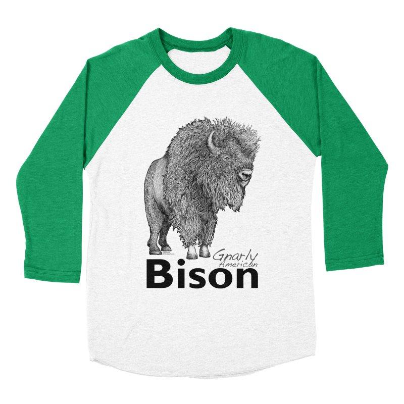 Bison Women's Baseball Triblend Longsleeve T-Shirt by dotsofpaint threads