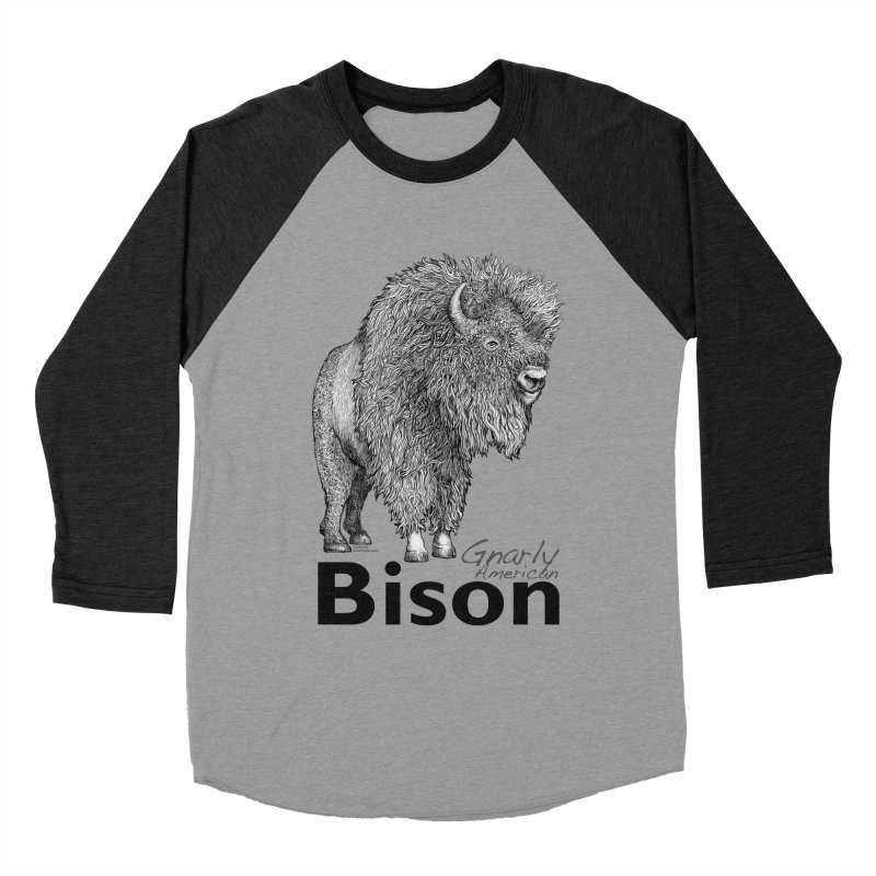 Bison Men's Baseball Triblend Longsleeve T-Shirt by dotsofpaint threads