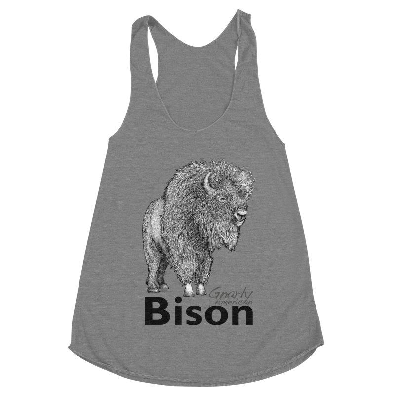 Bison Women's Racerback Triblend Tank by dotsofpaint threads