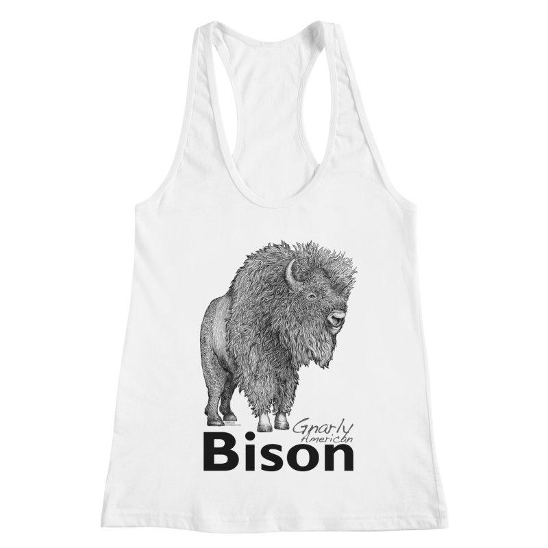 Bison Women's Racerback Tank by dotsofpaint threads