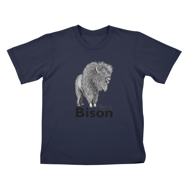 Bison Kids T-Shirt by dotsofpaint threads