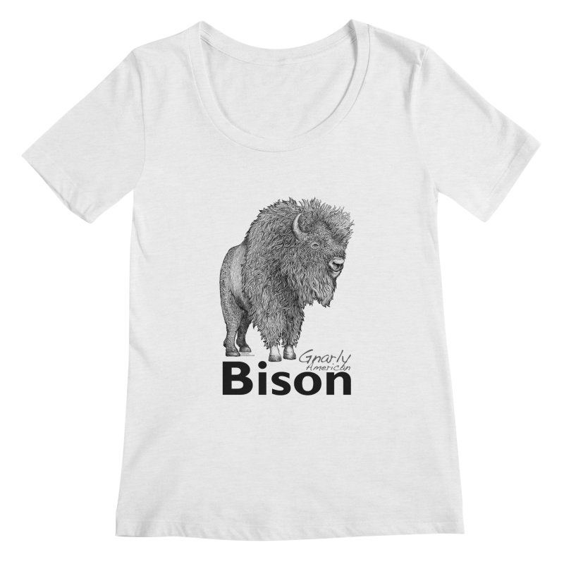 Bison Women's Regular Scoop Neck by dotsofpaint threads