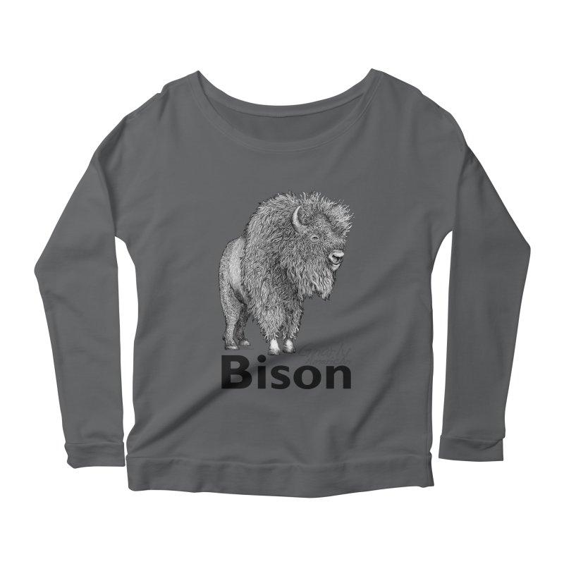 Bison Women's Scoop Neck Longsleeve T-Shirt by dotsofpaint threads