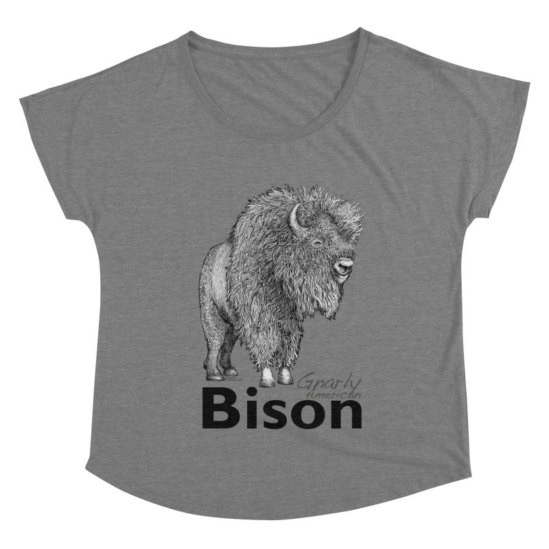 Bison Women's Scoop Neck by dotsofpaint threads