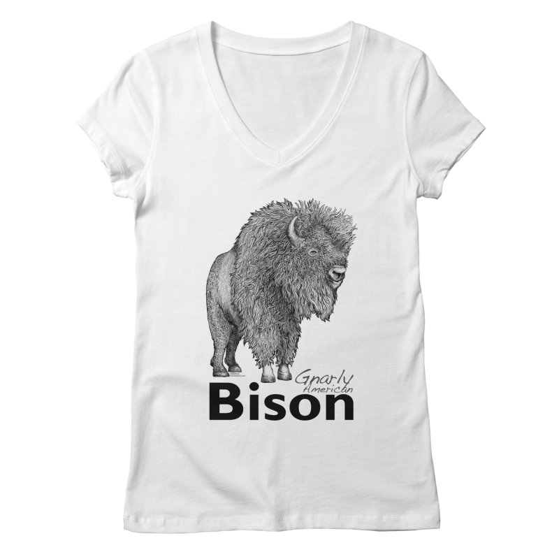Bison Women's Regular V-Neck by dotsofpaint threads