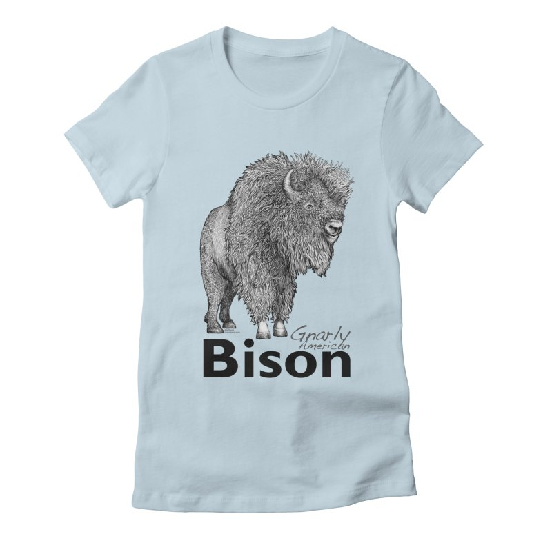 Bison Women's Fitted T-Shirt by dotsofpaint threads
