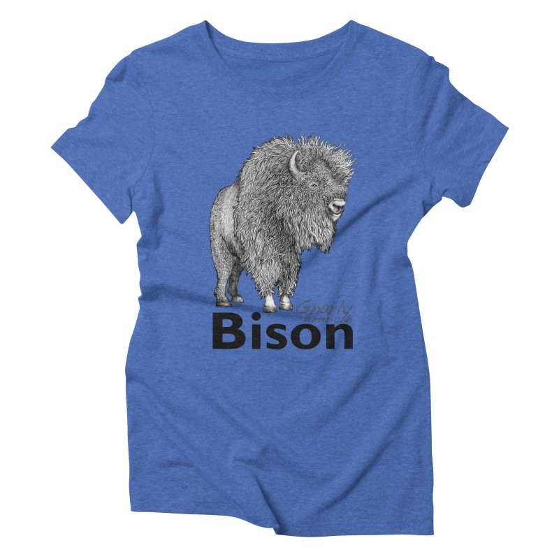 Bison Women's Triblend T-Shirt by dotsofpaint threads
