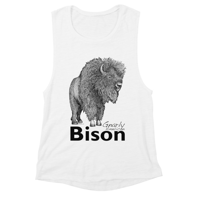 Bison Women's Muscle Tank by dotsofpaint threads