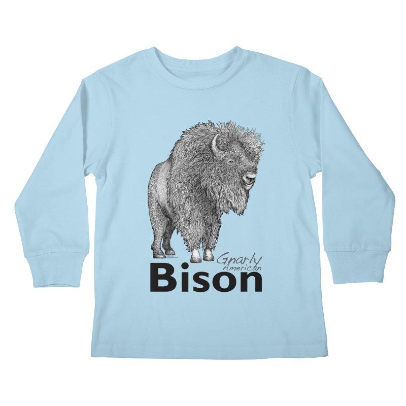 Bison Kids Longsleeve T-Shirt by dotsofpaint threads