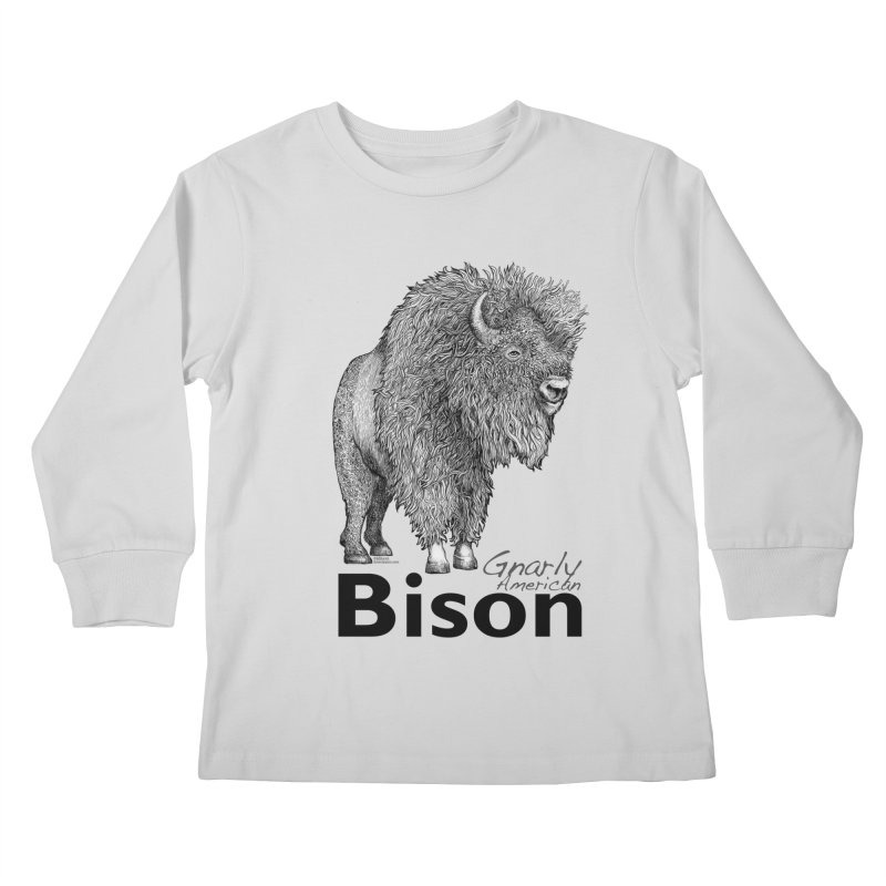 Bison Kids Longsleeve T-Shirt by dotsofpaint threads
