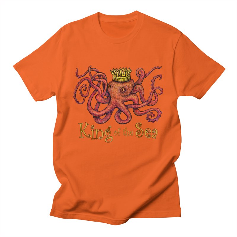 Red Octopus - King of the Sea! Men's T-Shirt by dotsofpaint threads
