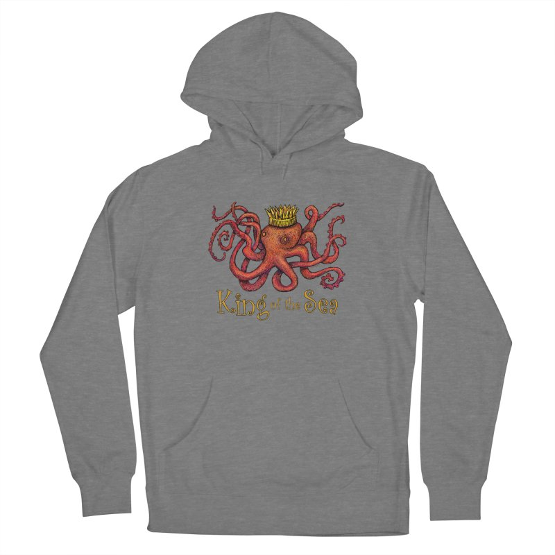 Red Octopus - King of the Sea! Women's Pullover Hoody by dotsofpaint threads