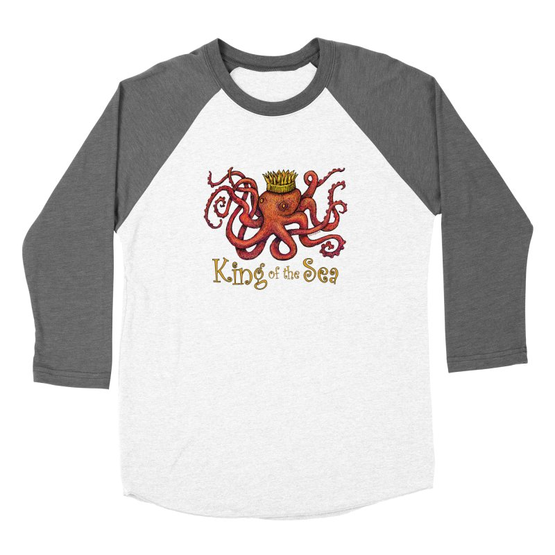 Red Octopus - King of the Sea! Women's Longsleeve T-Shirt by dotsofpaint threads