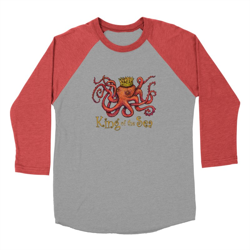 Red Octopus - King of the Sea! Men's Longsleeve T-Shirt by dotsofpaint threads